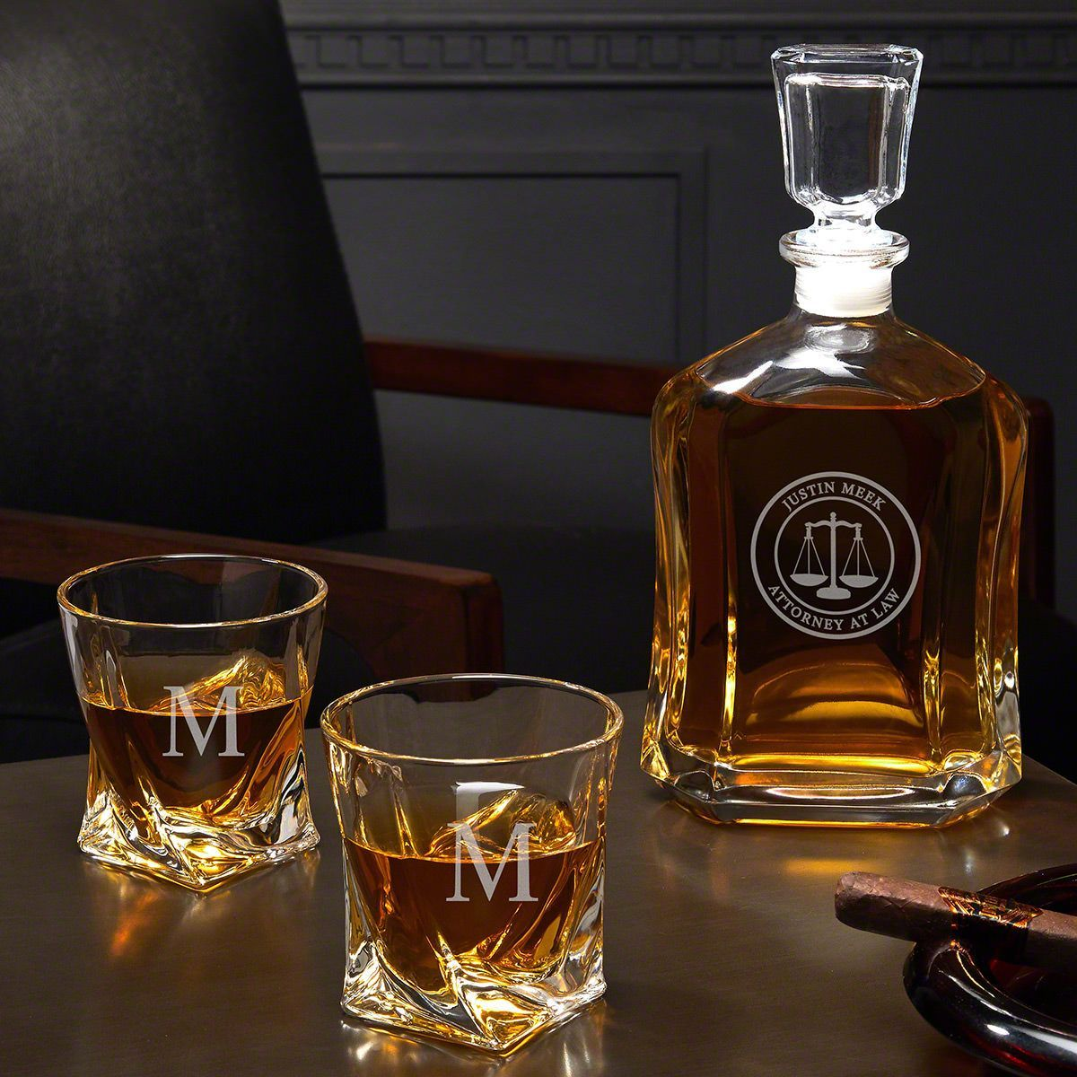 Scales Of Justice Custom Decanter Twist Glasses Gift For Lawyer Personalized Whiskey Decanter Whiskey Decanter Set Personalized Whiskey Decanter Set