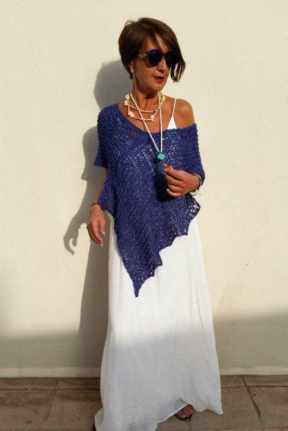 Photo of Løsstrik poncho, blå cover-up boho, Middelhavsblåt, gaver til hende, poncho til kvinder, strandomslag,