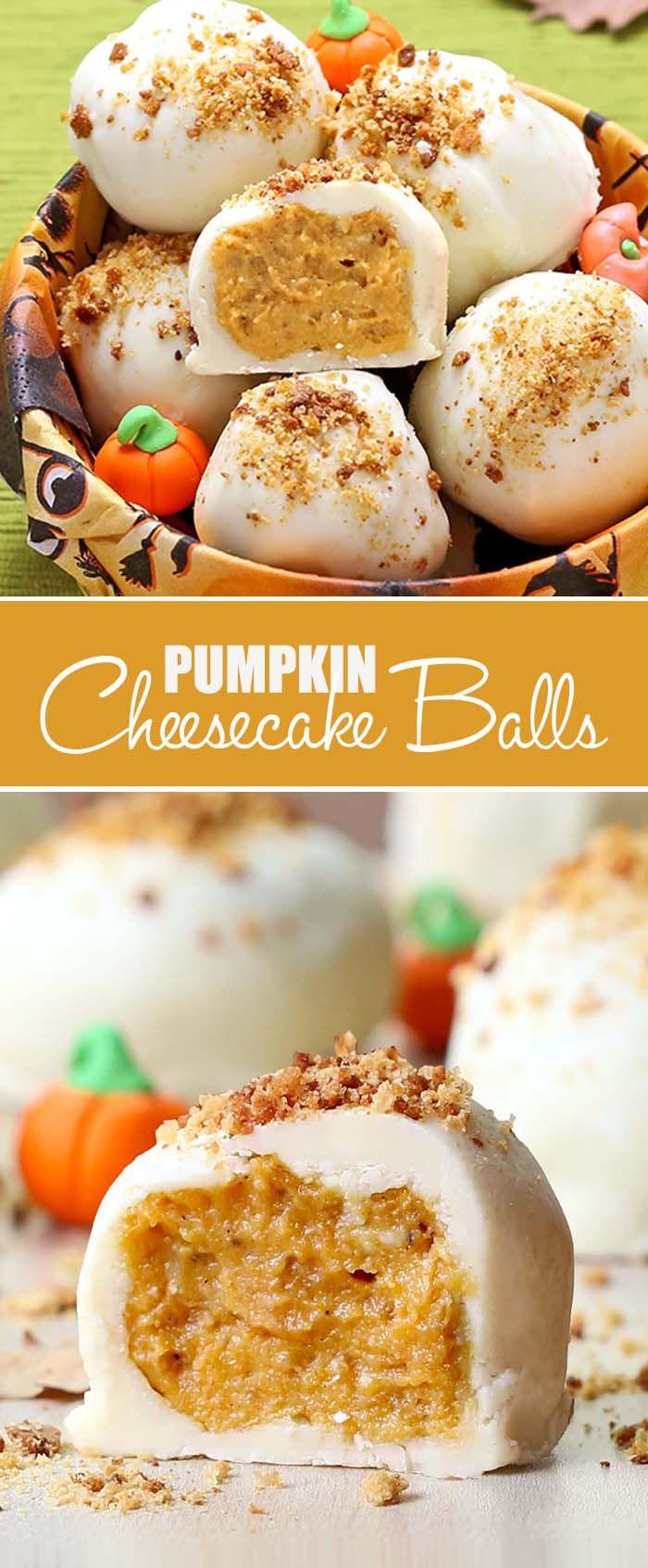 Pumpkin Cheesecake Balls - Cakescottage #falldesserts