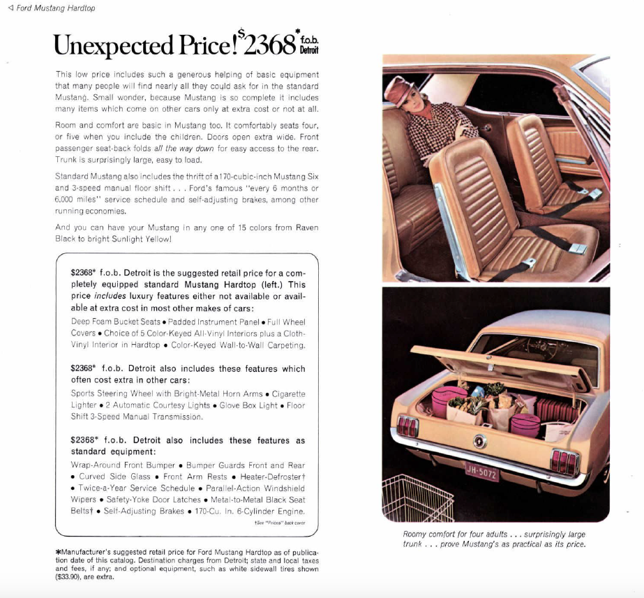 Mustang Sales Catalogue 1965 Vintage Mustang Classic Mustang Mustang