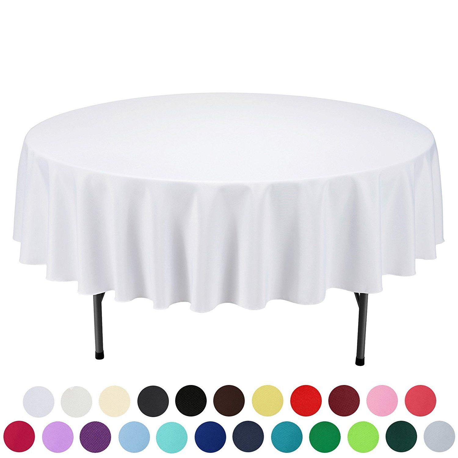 Amazon.com: VEEYOO 90 Inch Round Solid Polyester Wedding Restaurant Party  Tablecloth, White