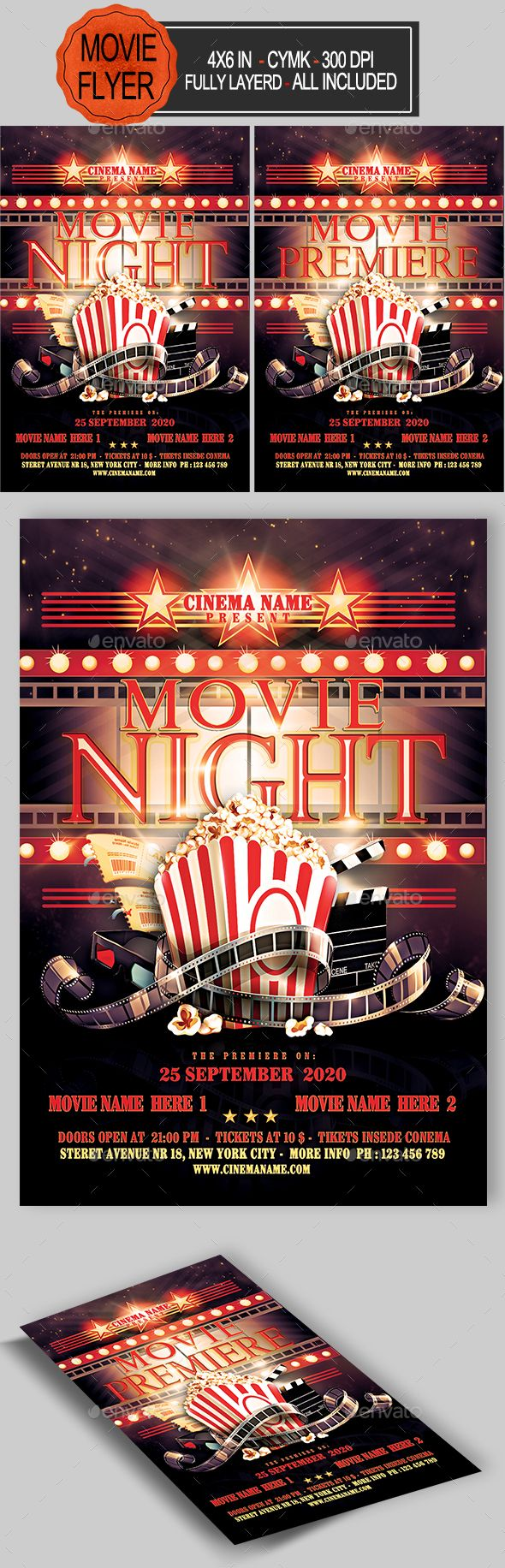 Movie Night Flyer  Event Flyers Flyer Template And Fonts