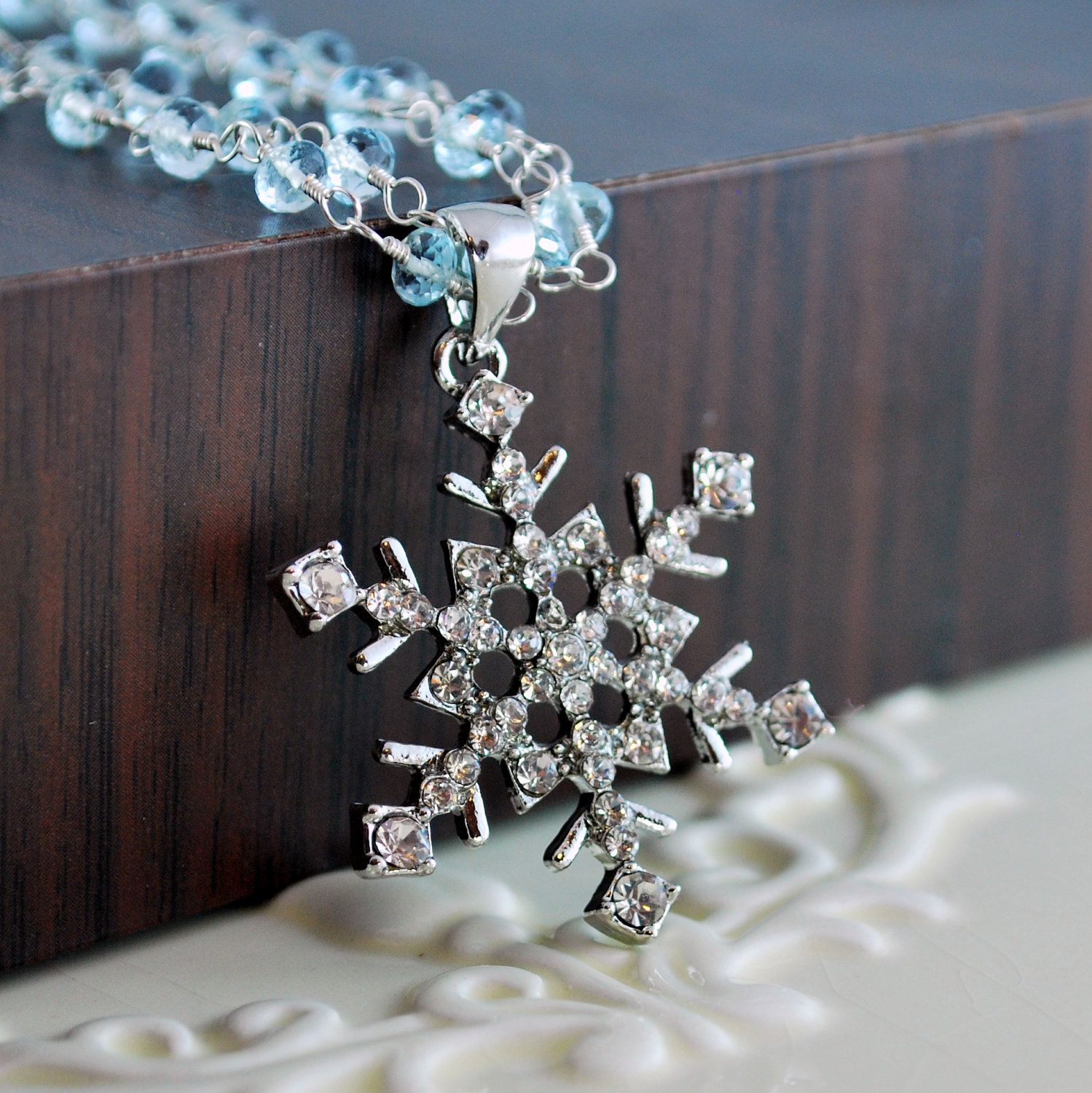 Snowflake Necklace Wedding Jewelry Genuine Blue Topaz Gemstone Aqua Freshwater Pearls Sterling Silver - Frosty - Complimentary Shipping. $115.00, via Etsy.
