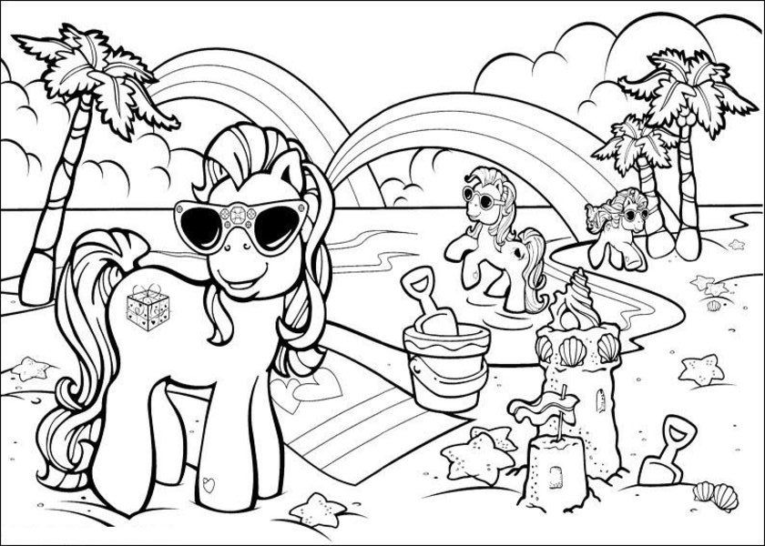 Vacation With Friends At The Beach Coloring Pages My Little Pony