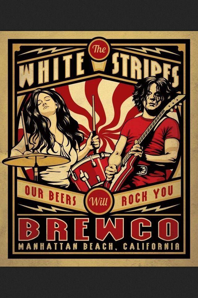 The White Stripes Manhattan Beach CA Concert poster art