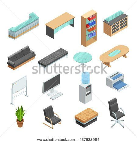 isometric office furniture vector collection. Office Furniture Isometric Icons Collection With Desk Computer Whiteboard And Leather Manager Chair Abstract Isolated Vector R