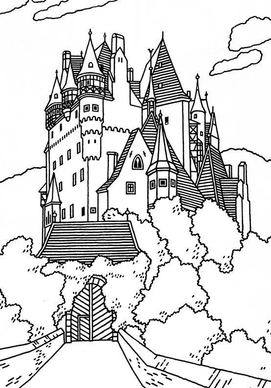 Burg Eltz German Castle Coloring Pages For Grown Ups