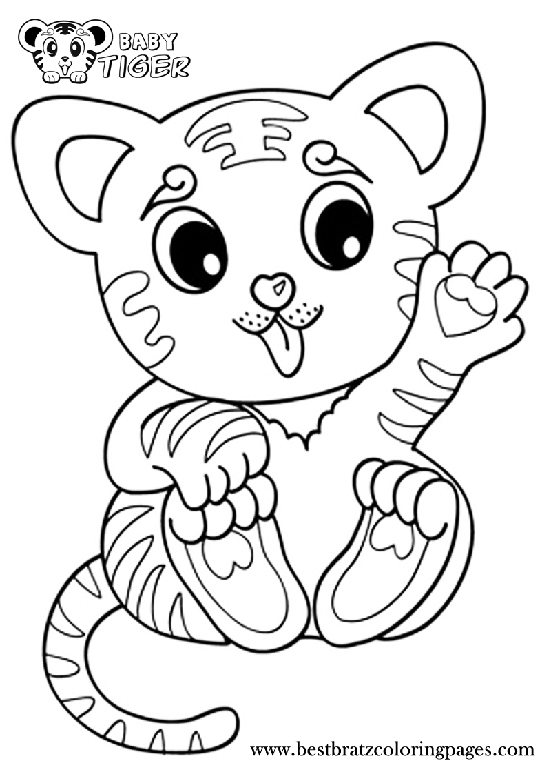 Print Cute Baby Tiger Coloring Pages Cartoon Tiger Emoji Coloring Pages Tiger Drawing