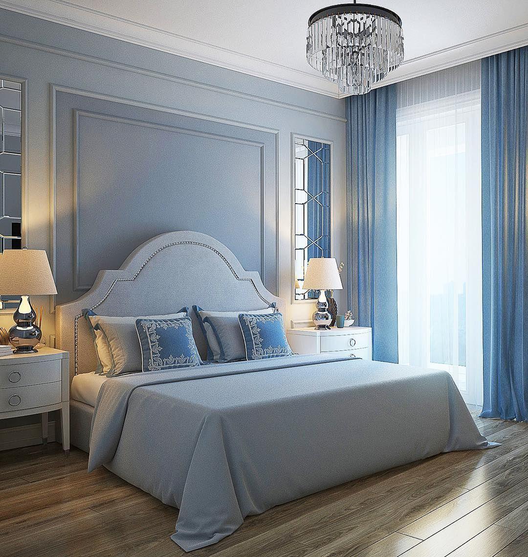 Дизайн спальни серо синий фото