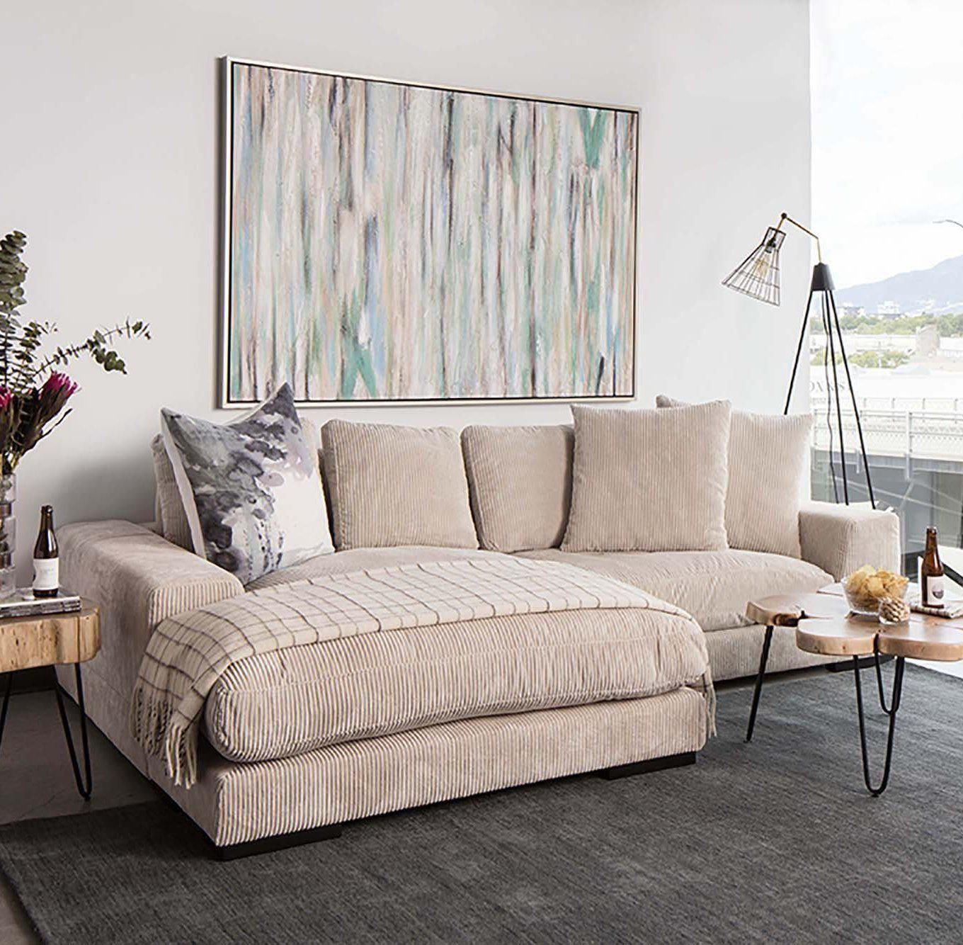 Plunge reversible corduroy sectional cappuccino