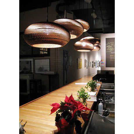 Hanging lamp Disc 24 cardboard, brown, Ø61x26cm | Lampen