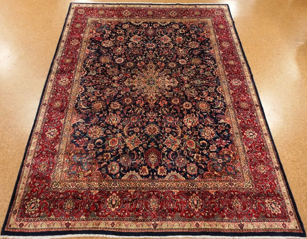 Persian Sarouk Hand Knotted Wool Navy Blue Red Oriental Rug 10 X