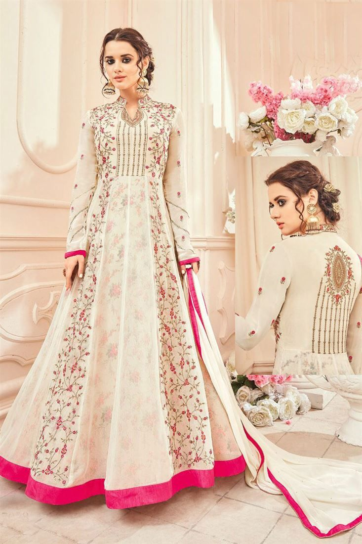 Online shopping of georgette embroiderd long anarkali suit in off