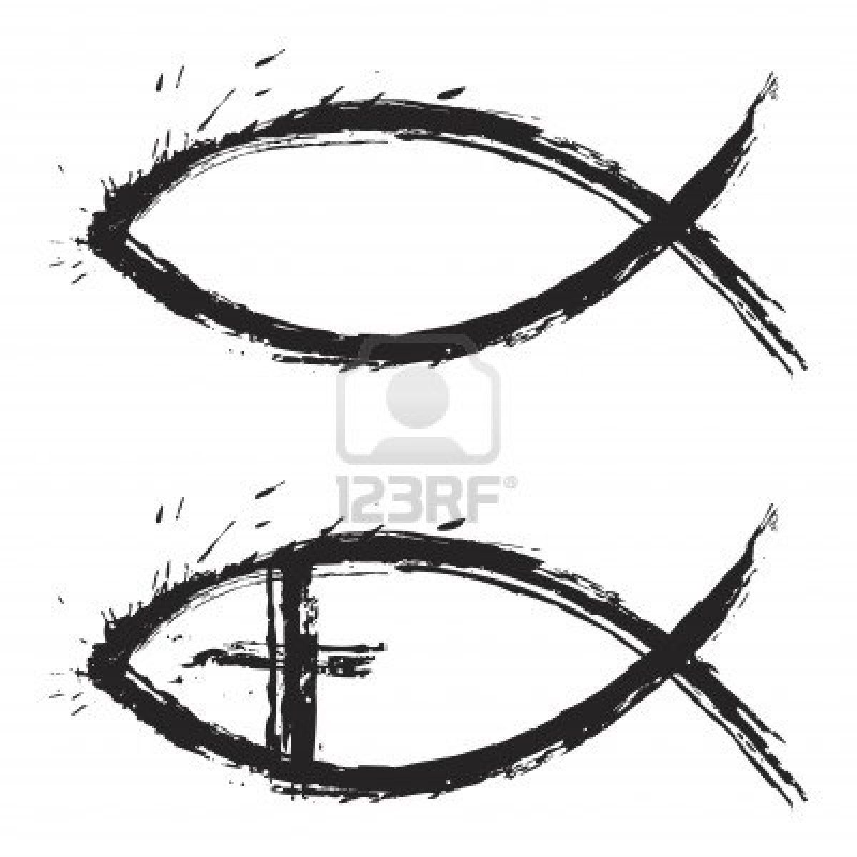Christian Religion Symbol Fish Created In Grunge Style Tattoos