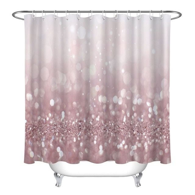 Lb Abstract Of Pink Bokeh Light Glitter Christmas Shower Curtains