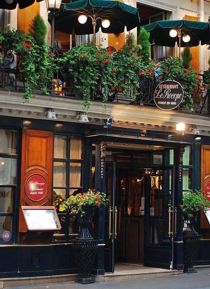 Le Procope - the oldest bistro in Paris, dating back to the 1600s.