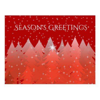 Seasons Greetings Canadian Christmas Trees  Stars Postcard
