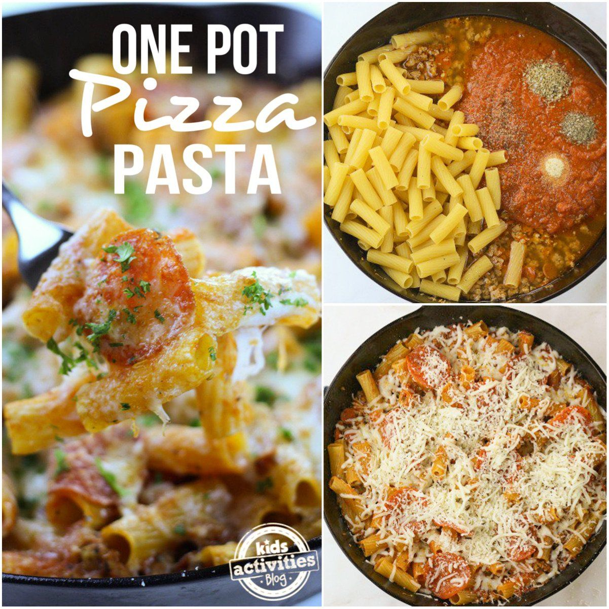 One Pot Pizza Pasta  pepperoni  isn't creditable so don't use it as your meat component