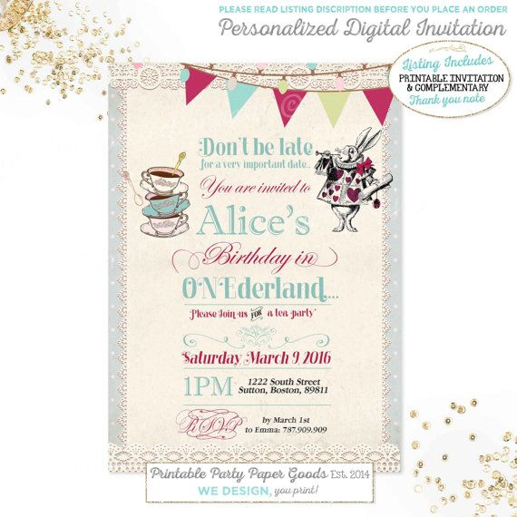 Alice In Wonderland St Birthday Invitation Alice In Onederland