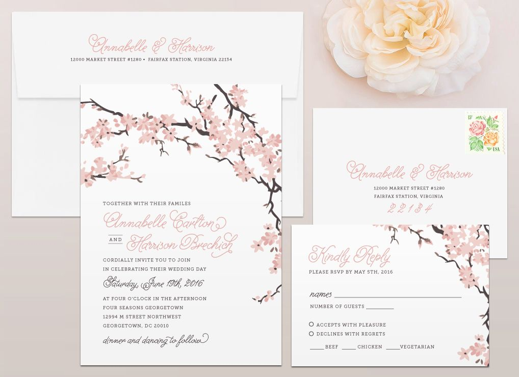 Cherry Blossoms Wedding Invitation | Cherry blossoms, Weddings and ...