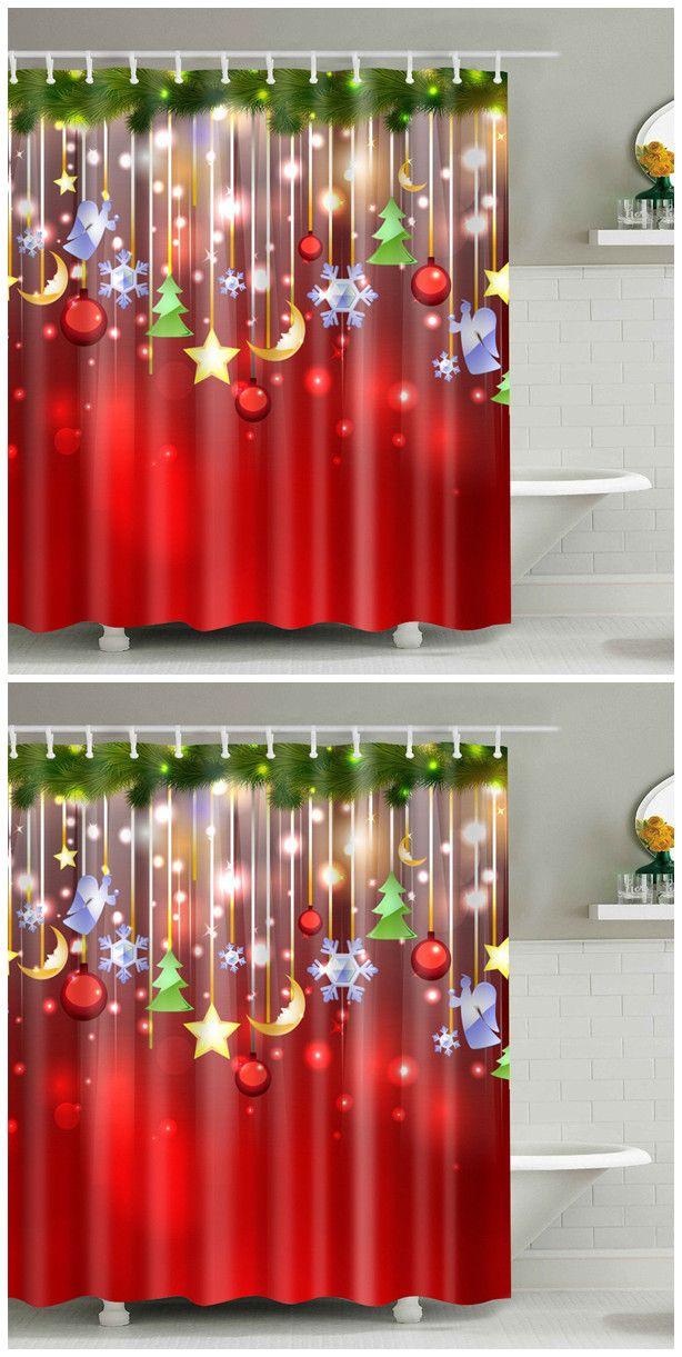 Christmas Waterproof Bathroom Shower Curtain Navidad, Cortinas de