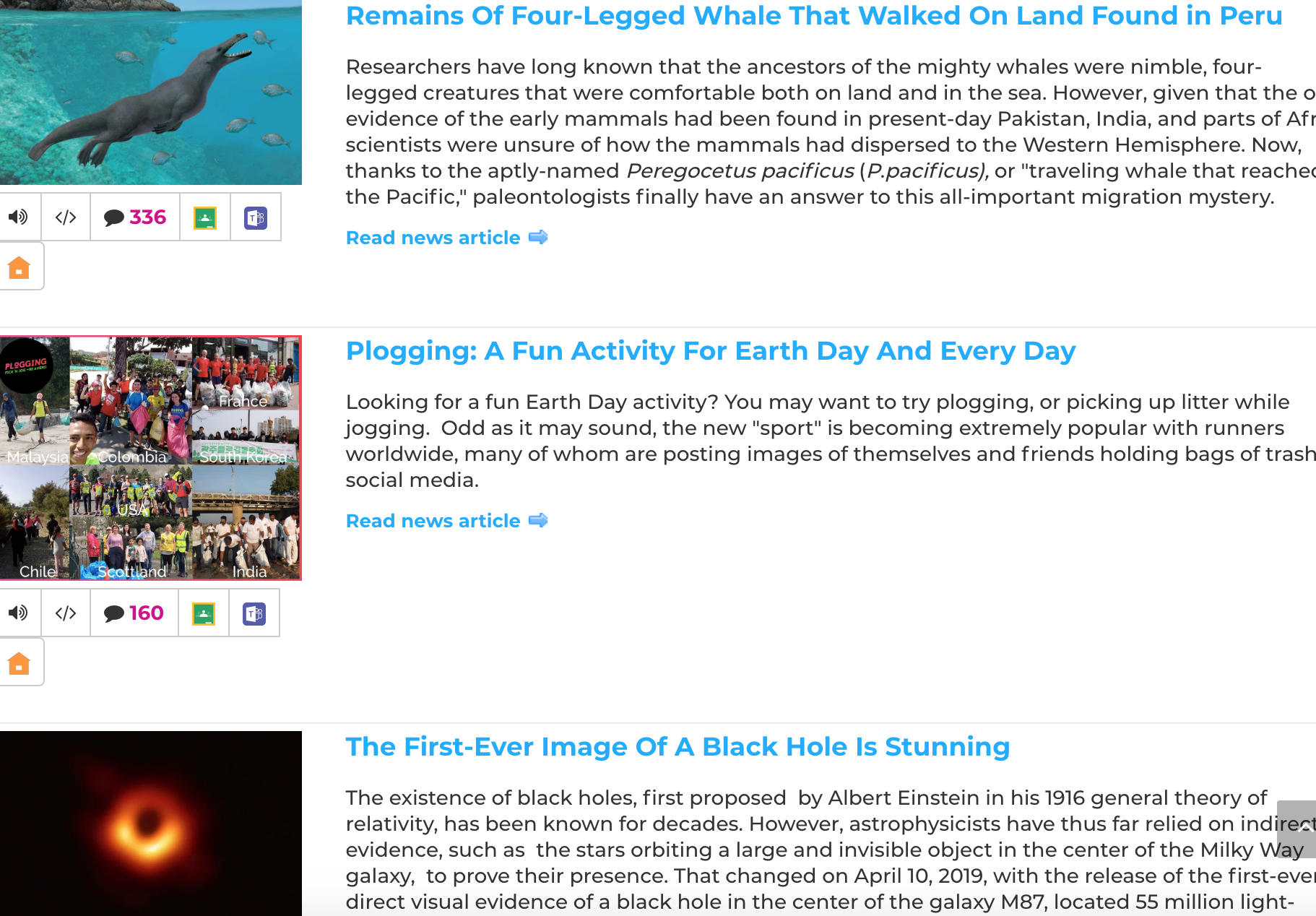 DOGO News has short format articles for kids on current