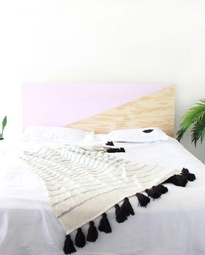 ▷ 1001 + idées pour fabriquer une tête de lit en bois originale - peindre un lit en bois