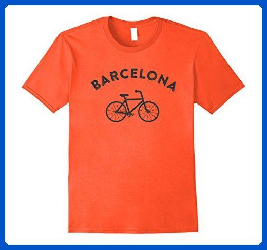 Mens Barcelona T-Shirt City Bike Retro Style Cycling Spain Tee Small Orange  - Retro 2e571ef7b