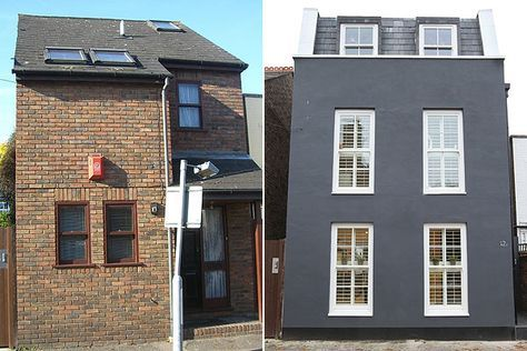 Painted Brick House Exterior Before And After Grey