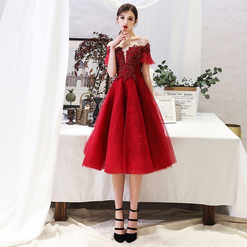 Chic / Beautiful Burgundy Homecoming Graduation Dresses ...