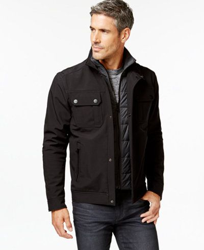 Michael Kors Men's Contrast Quilted Bib Jacket : quilted mens jacket outerwear - Adamdwight.com