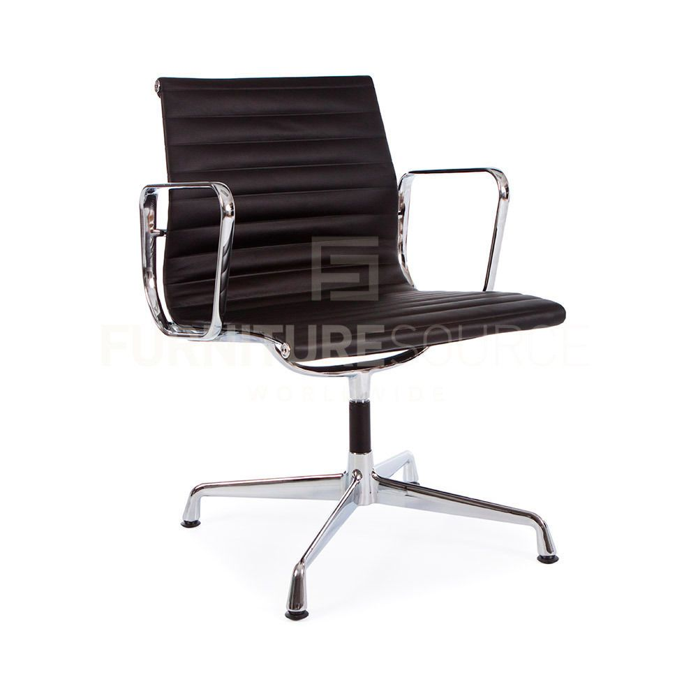 eames ribbed chair tan office. Eames Style Ribbed Stitched Low Back Office Chair - Full Leather, Gliding Base #FSW Tan