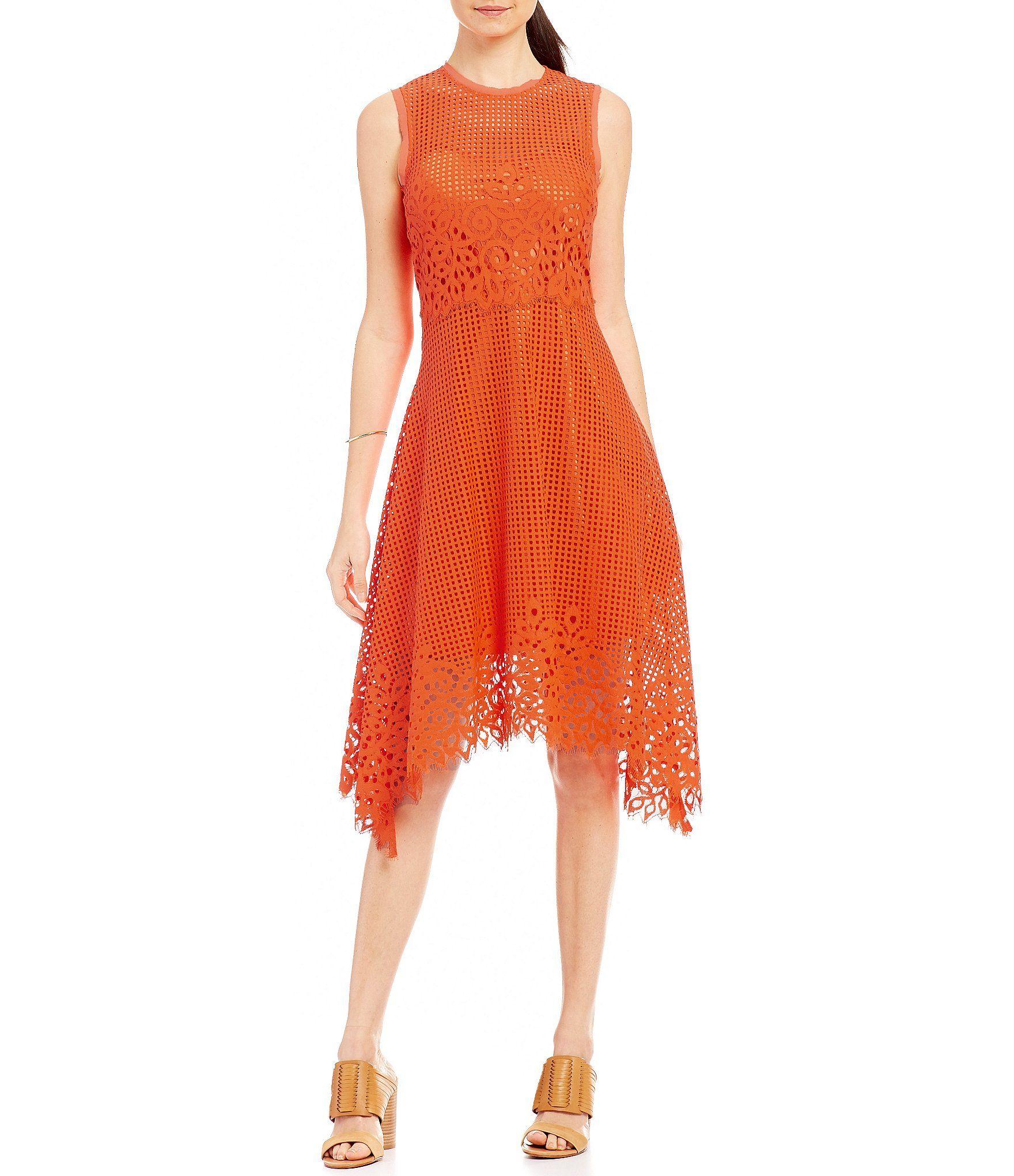 Donna karan new york scalloped hem lace shift dress dillards
