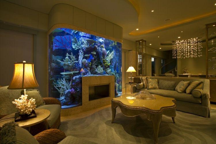 aquarium ideen abgerundet design kamin idee korallen wohnzimmer - Deck Ideen Mit Kamin