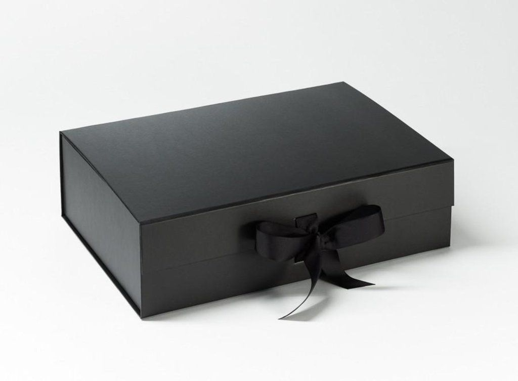 Black a4 luxury gift box with closure and ribbon