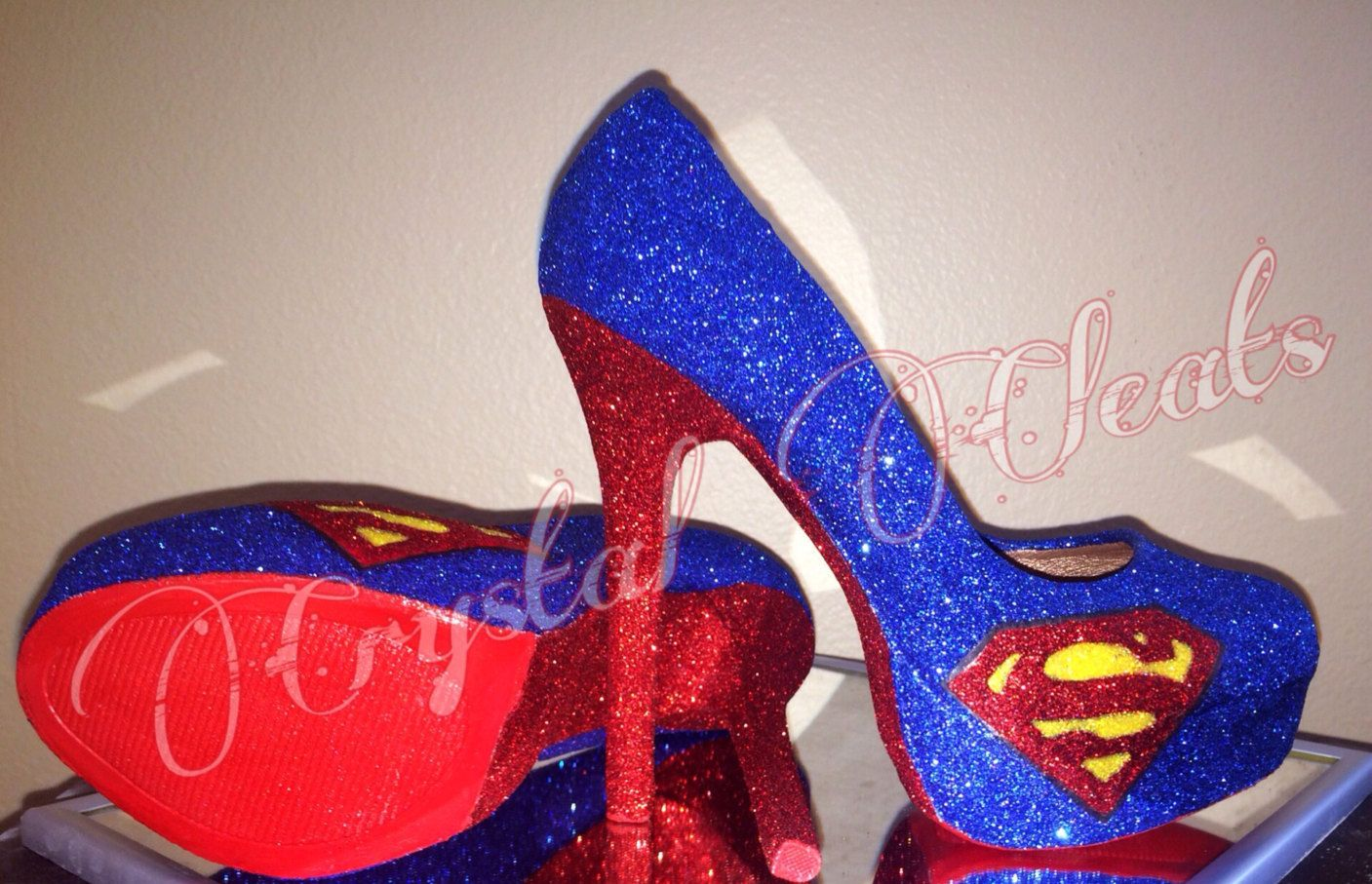 25edaeded2f6 HALLOWEEN SPECIAL! Superman super woman high heel stiletto shoes sparkly  glitter in Blue red yellow or choose your colors by CrystalCleatss on Etsy