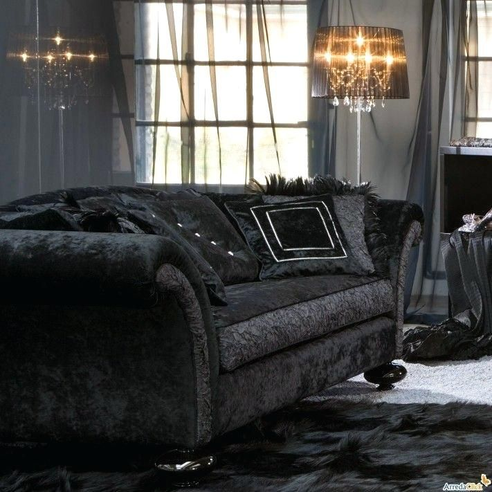 Image result for black velvet couch (With images) | Black ...
