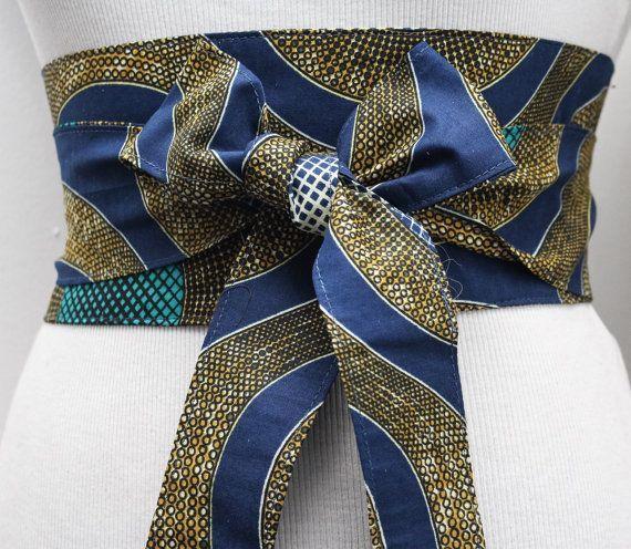 Navy Turquoise Ankara Obi Belt l African Print Obi Corset Belt | Wax Print Belt | Wide Belt| ... #afrikanischerdruck