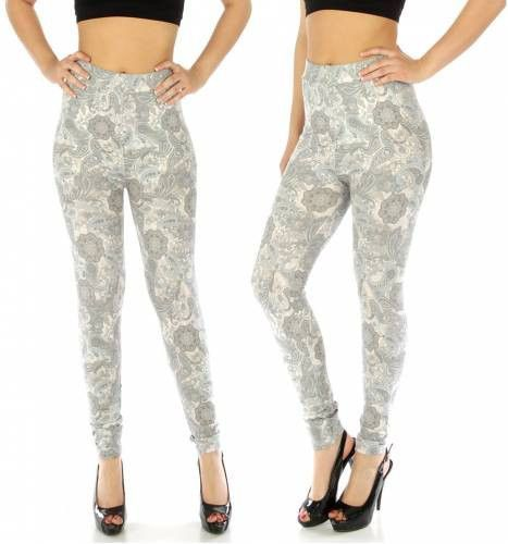 Blue and Grey Paisley Print Leggings M/L and XL/2X