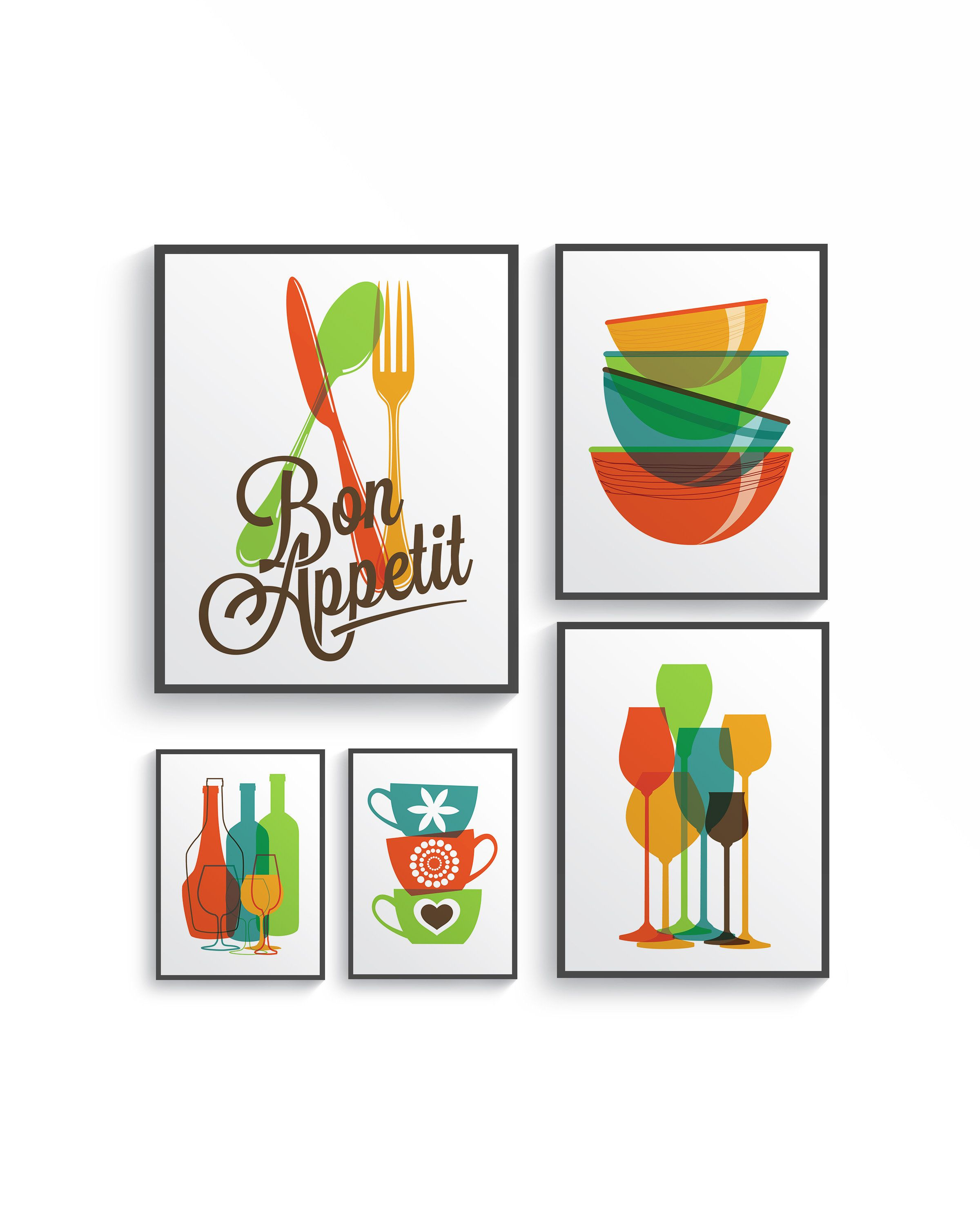 5 Set Modern Colorful Bon Appetit Kitchen Decor Print Set Etsy In 2020 Kitchen Wall Art Colorful Kitchen Decor Kitchen Art