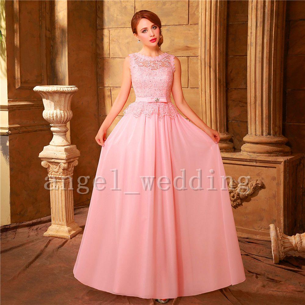 Sexy espalda abierta de encaje de color rosa vestido de fiesta largo ...