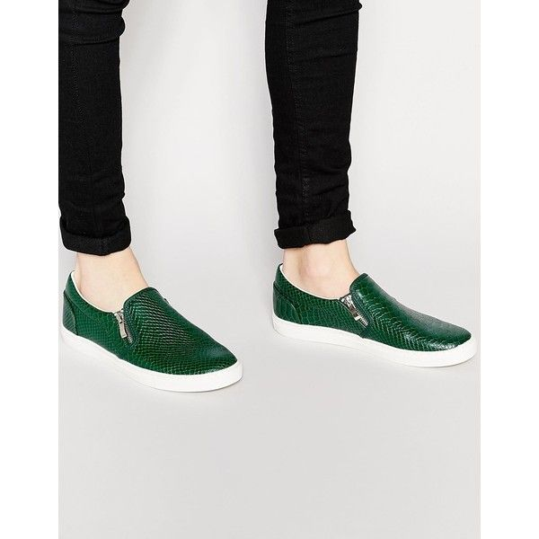 be9e3263c01 ASOS Slip On Plimsolls in Green With Snake Skin Effect featuring ...