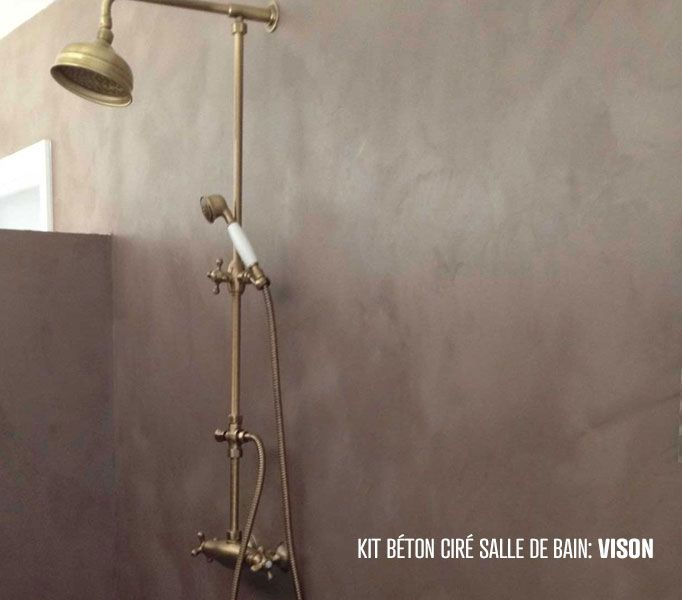kit béton ciré salle de bain mur de douche salle bain Pinterest