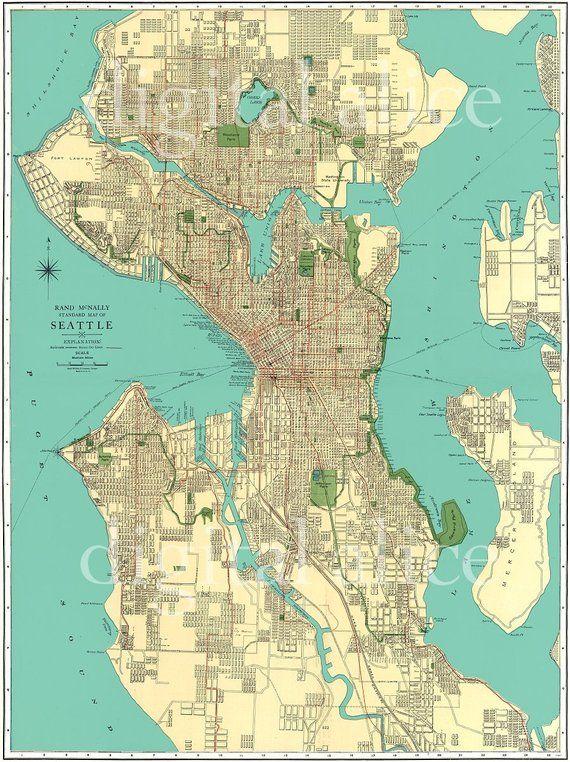 Seattle Street Map Vintage 1920's SEATTLE STREET MAP   City of Seattle Washington  Seattle Street Map