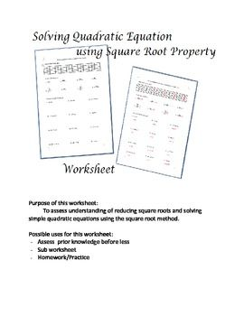 Solving Quadratic Equations Using Square Root Method Worksheet