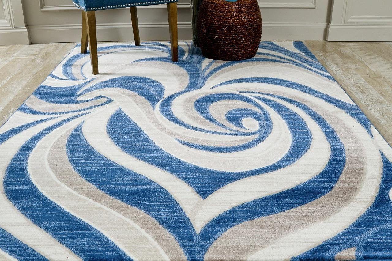 4695 Blue Contemporary Area Rugs Living Room