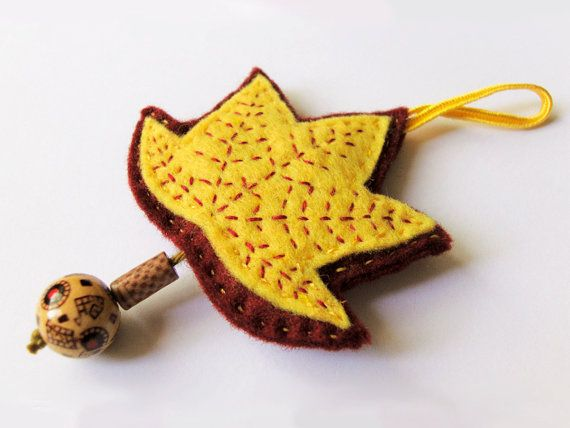 Felt fall leaf home fall decoration yellow by InspirationalGecko, €9.00
