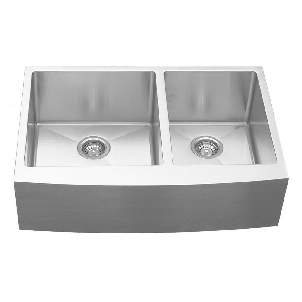 Karran Farmhouse Apron Front Stainless Steel 33 In Double Bowl Kitchen Sink Silver Double Bowl Kitchen Sink Sink Farmhouse Aprons