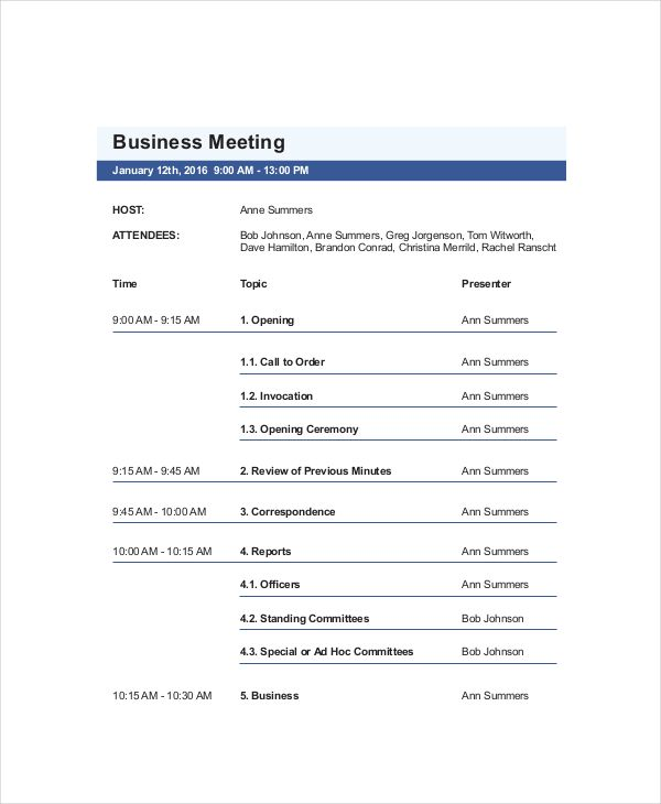 6 Best Meeting Agenda Templates Agenda Template Meeting Agenda