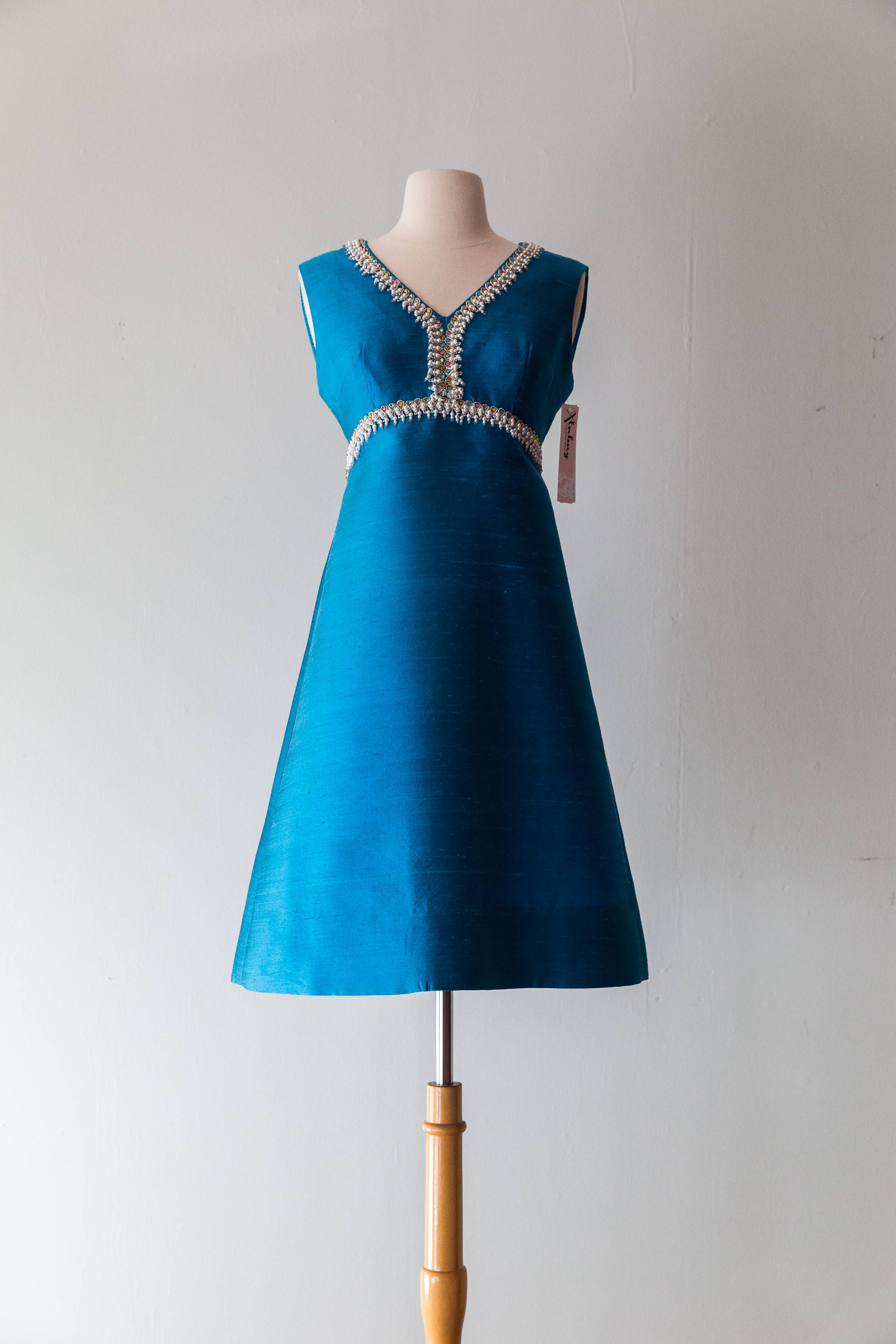 Vintage 1960s Dress 60s Beaded Teal Blue Cocktail Dress With Rhinestones Mod Party Dress Waist 29 By Xtabayvintage On Etsy [ 3000 x 2000 Pixel ]